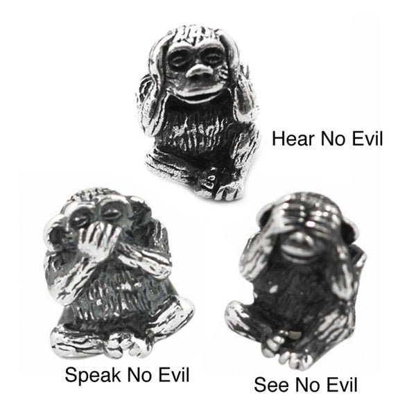 De Buman Sterling Silver See No Evil, Speak No Evil Monkey Charm Beads