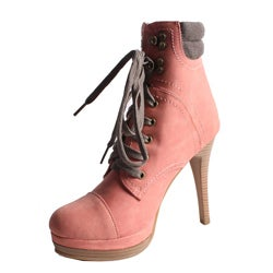 Blossom by Beston Women's 'Vary-7' Coral Lace-Up Ankle Boots