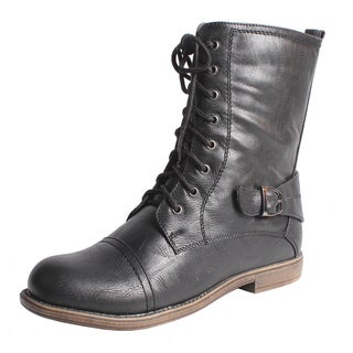 Blossom by Beston Women's 'Cana-8' Mid-calf Combat Boots