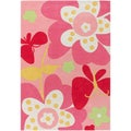 Hand-tufted Rendon Pink Floral Rug (2' x 3')