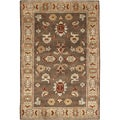 Hand-knotted Green Southwestern Retreat New Zealand Wool Rug (2' x 3')