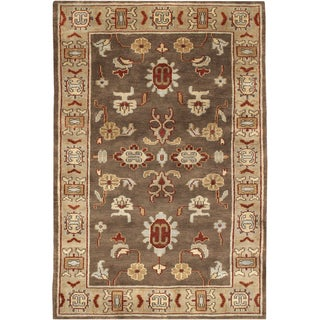 Hand-knotted Brown Southwestern Retreat New Zealand Wool Rug (2' x 3')