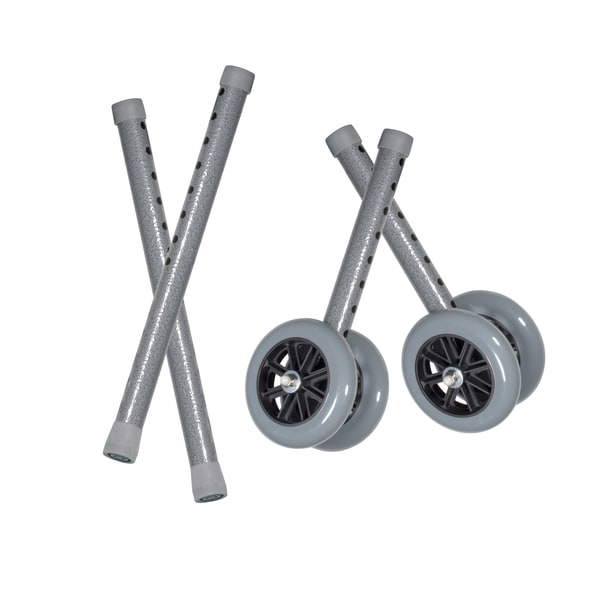 Drive Medical 5-inch Bariatric Walker Wheels and Glides (Set of 2)