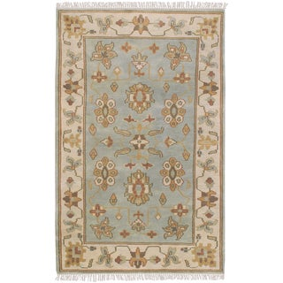 Hand-knotted Light Blue Southwestern Republic New Zealand Wool Rug (2' x 3')