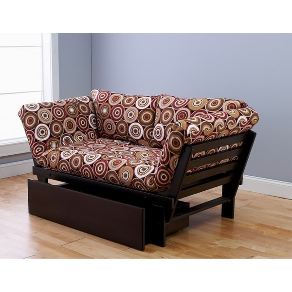 Somette Alite Lounger Espresso Futon Frame, Drawer and Mattress Set