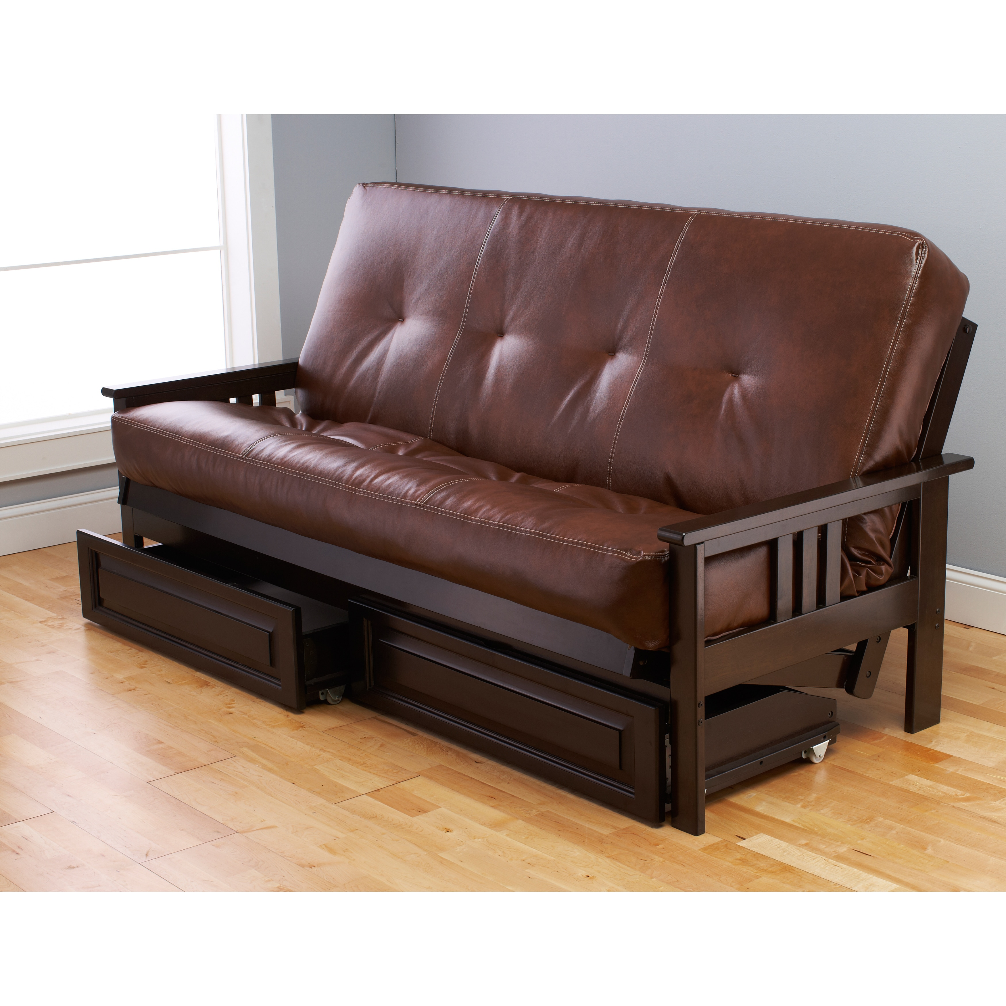 Bonded Leather Beli Mont Multi-Flex Espresso Futon Frame, Drawers and Mattress Set at Sears.com