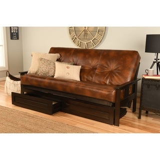 Bonded Leather Beli Mont Multi-Flex Espresso Futon Frame, Drawers and Mattress Set
