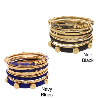 NEXTE Jewelry Goldtone Silk 13-piece Stackable Bracelet Set
