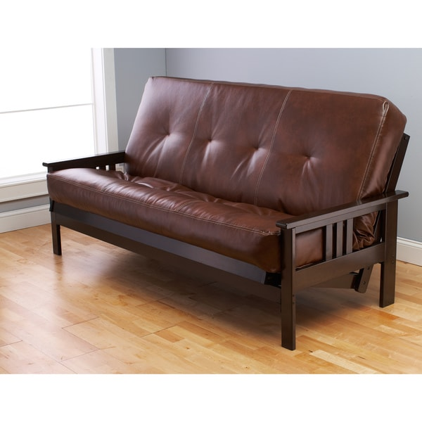 Somette Bonded Leather Beli Mont Multi-Flex Espresso Futon Frame and Mattress Set