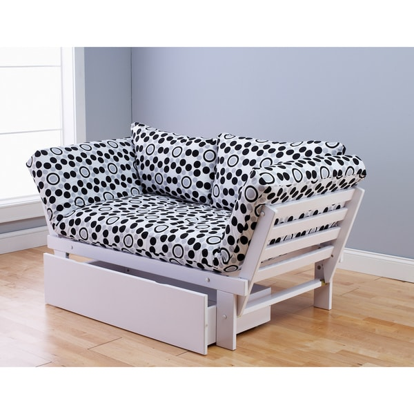 Somette Alite Lounger White Futon Frame, Drawer and Mattress Set
