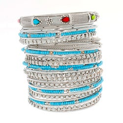 NEXTE Jewelry Silvertone Acrylic Bead 32-piece Stackable Bracelet Set
