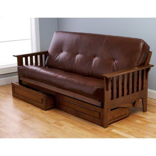 Somette Baltimore Oak Futon Frame, Drawers and Saddle Mattress Set