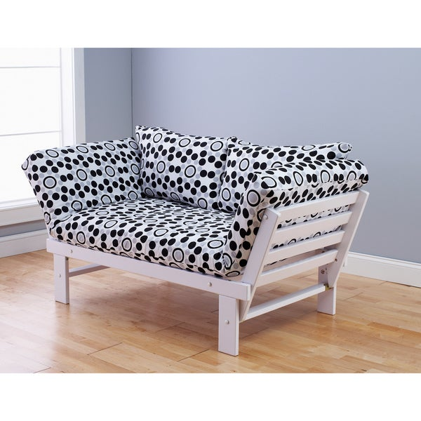 Somette Alite Lounger White Futon Frame and Mattress Set