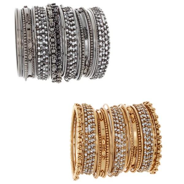 NEXTE Color-plated Metal Rhinestone 34-piece Stackable Bracelet Set