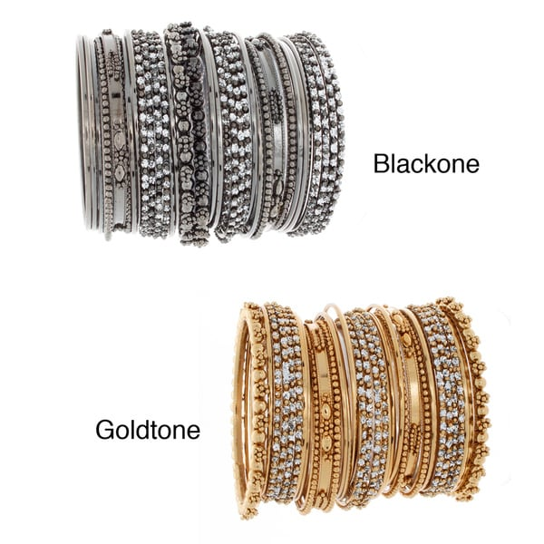 NEXTE Color-plated Metal Rhinestone 34-piece Stackable Bracelet Set