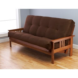 Beli Mont Multi-Flex Honey Oak Futon Frame and Innerspring Mattress Set