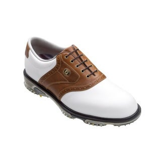 FootJoy Men's DryJoys Tour Saddle White/ Taupe Golf Shoes