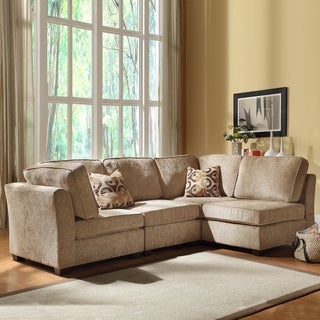 TRIBECCA HOME Barnsley Collection Brown/ Beige Chenille 4-piece Sectional Set