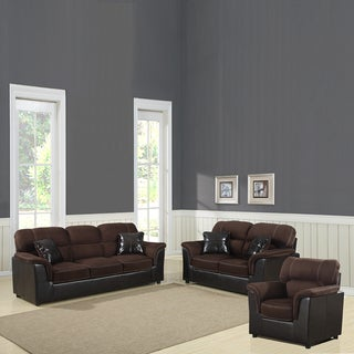 Alcester Collection Chocolate Microfiber/ Vinyl 3-piece Living Room Set