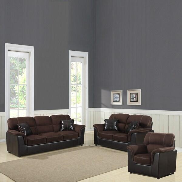 Alcester Collection Chocolate Microfiber/ Vinyl 3-piece Living Room Set