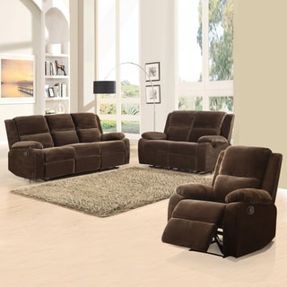 Angus Collection Coffee Microfiber 3-piece Living Room Set