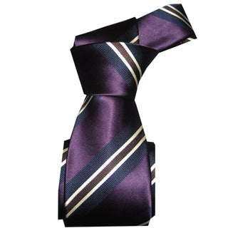 Dmitry Men's Dark Purple Striped Italian Silk Tie