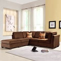 Barnsley Collection Dark Brown Polyester 5-piece Sectional Set