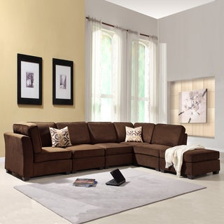 TRIBECCA HOME Barnsley Collection Dark Brown Polyester 6-piece Sectional Set