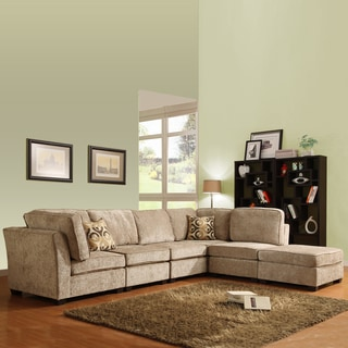 TRIBECCA HOME Barnsley Collection Brown/ Beige Chenille 6-piece Sectional Set
