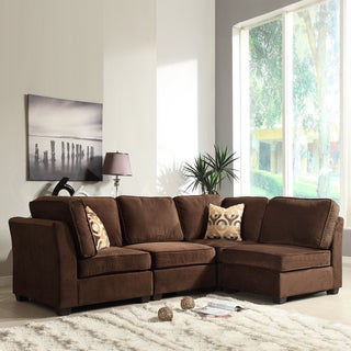 Tribecca Home Barnsley Collection Dark Brown Polyester 4-piece Sectional Set