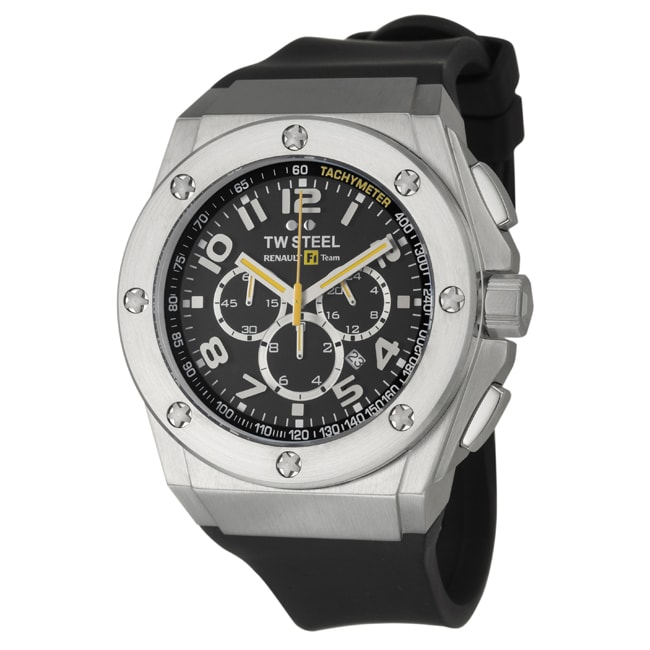 TW Steel Men's 'Renault F1 Team Pilot' Black Stainless-Steel Quartz Watch