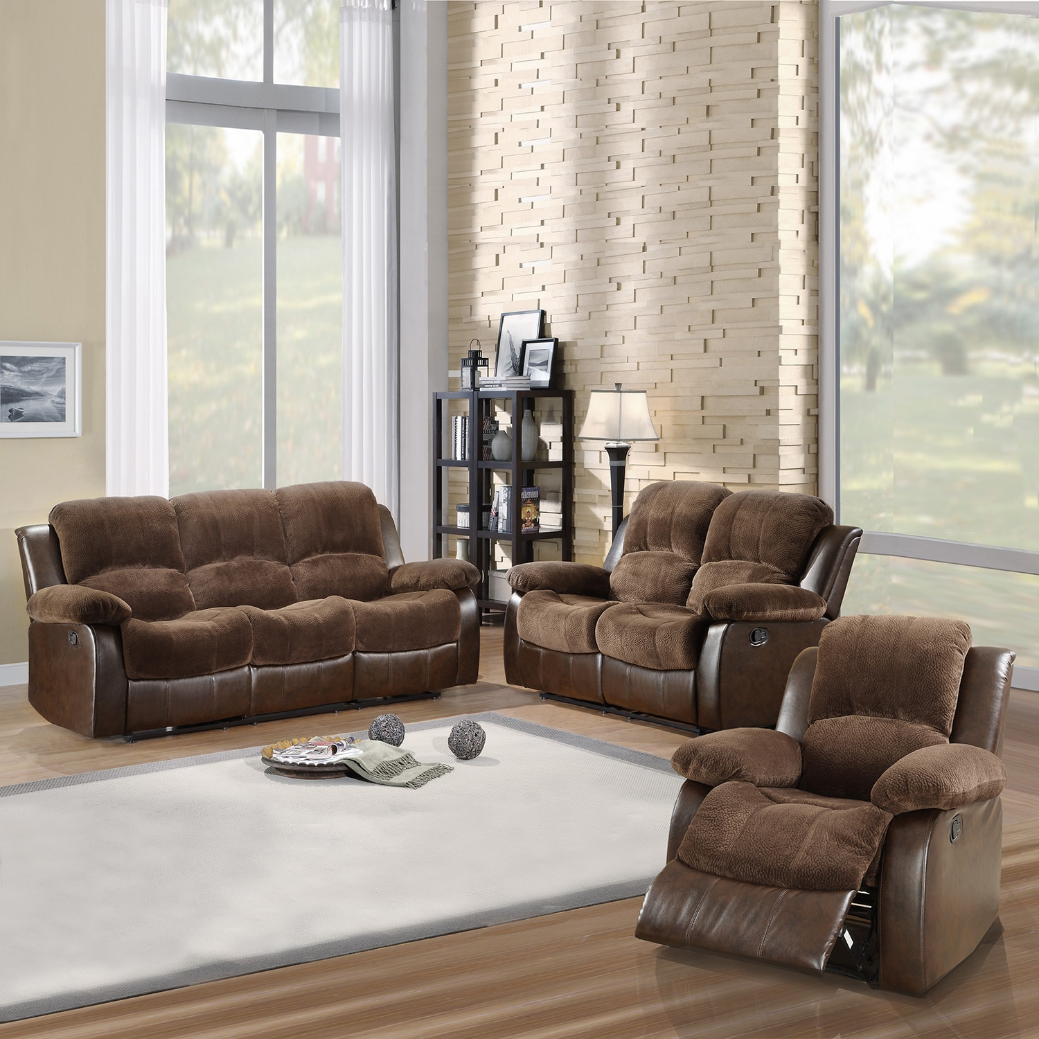 Collection dark brown microfiber vinyl 3 piece living room set