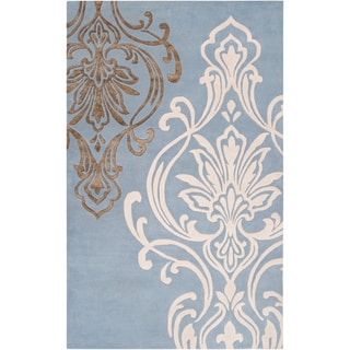 Candice Olson Hand-tufted Rivera Blue Damask Design Wool Rug (2' x 3')
