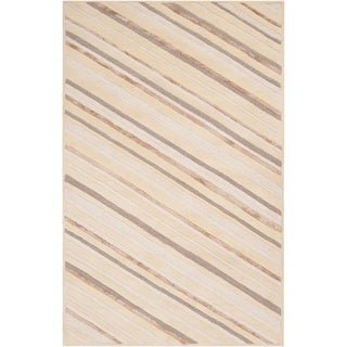 Candice Olson Hand-tufted Rivereno Beige Diagonal Stripes Wool Rug (2' x 3')
