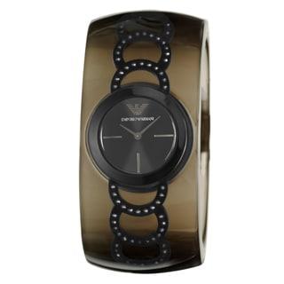 Emporio Armani Women's 'Donna' Black Stainless Steel Quartz Watch