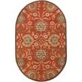 Hand-tufted Rowleys Orange Wool Rug (6' x 9' Oval)