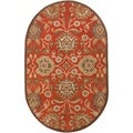 Hand-tufted Rowleys Orange Wool Rug (6' x 9' Oval)