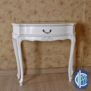 International Caravan Antique White Carved Table