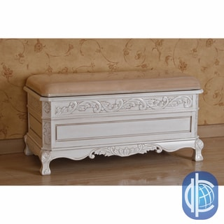 International Caravan Antique White Carved Wood Bench