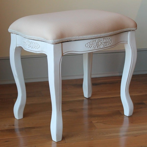 International Caravan Antique White Carved Wood Vanity Stool