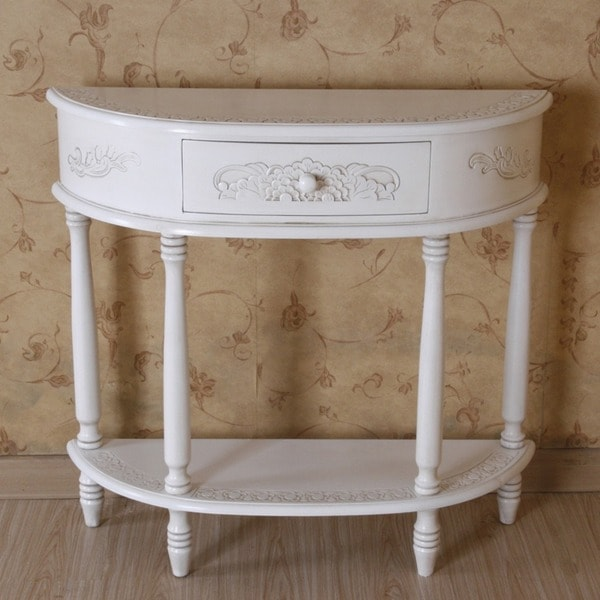International Caravan Antique White Carved Wood Half Moon Wall Table