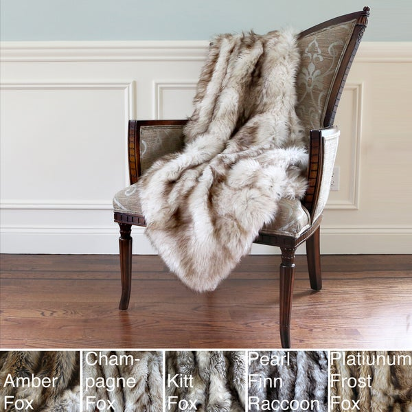 Aurora Home Wild Mannered Luxury Long Hair Faux Fur 58 x 36-inch Lap Throw