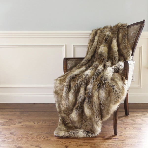 Aurora Home Wild Mannered Luxury Long Hair Faux Fur 60-inch Lap Throw Blanket