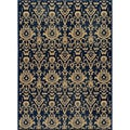 Ikat Chic Navy Wool Rug (1'8 x 2'8)