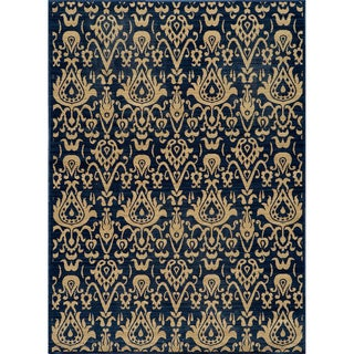 Ikat Chic Navy Wool Rug (7'10 x 9'10)