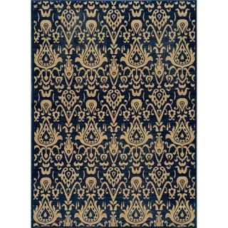 Ikat Chic Navy Wool Rug (7'10 x 9'10)