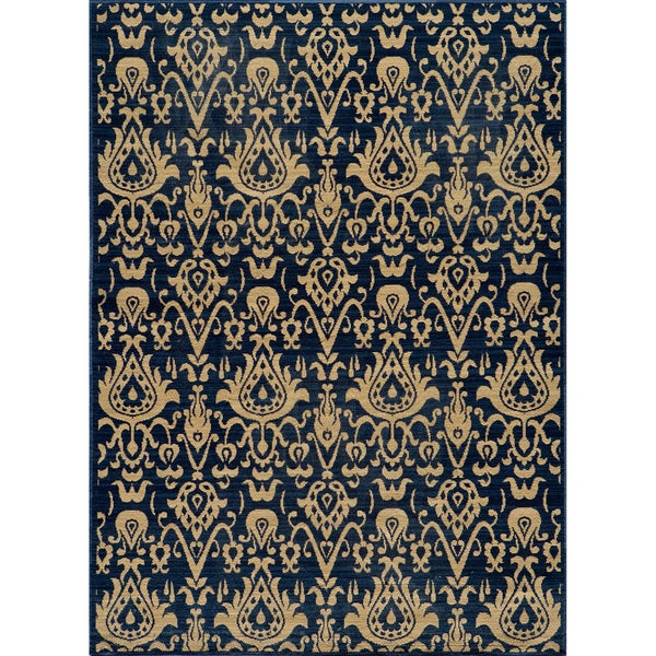Vintage Ikat Chic Navy New Zealand Wool Rug (7'10 x 9'10)