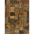 Hand-sheared Patchwork Brown Wool Rug (1'8 x 2'8)