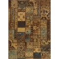 Hand-sheared Patchwork Brown Wool Rug (3'11 x 5'11)