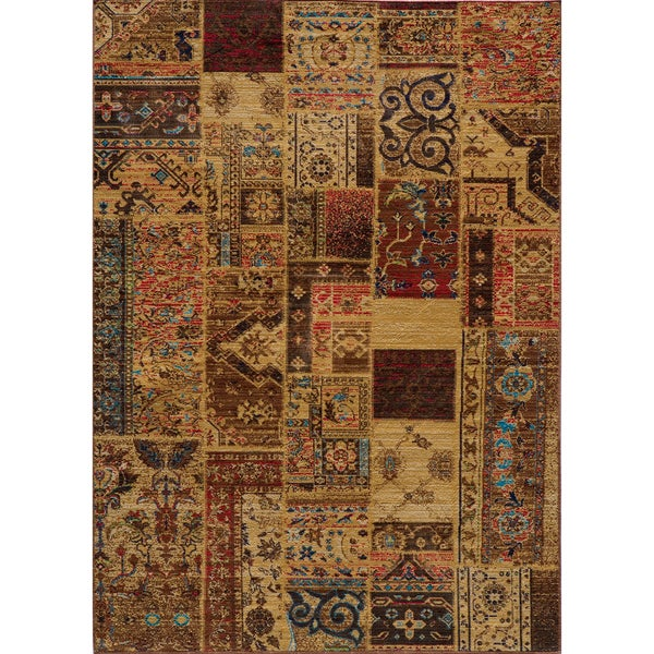 """Vintage Silas Patchwork Gold/Raspberry New Zealand Wool Rug (7'10"""" x 9'10"""")"""